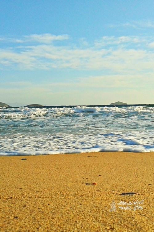 Sandy beach on Andros Island Coast Greece Greek Islands near Athens