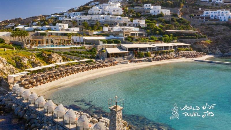 Luxury hotels in Greece Santorini Santa Marina Private beach