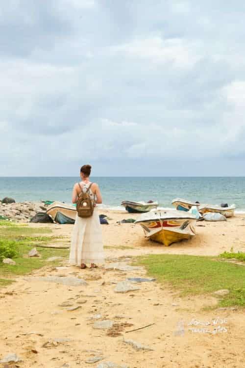 Kalpitiya Beach Woman at Talawila fishing village Sri Lanka beach