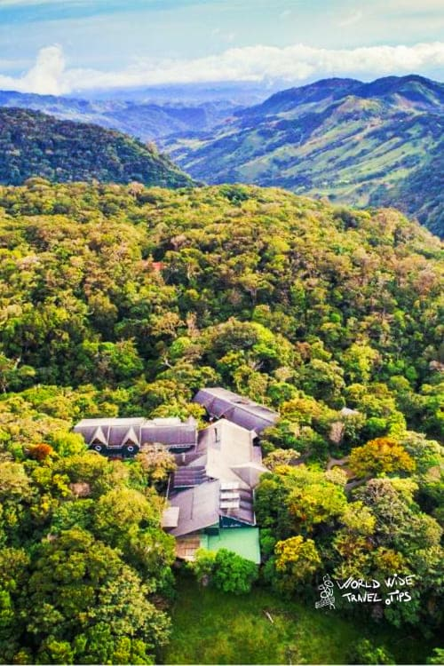 monteverde lodge and gardens aerial drone view