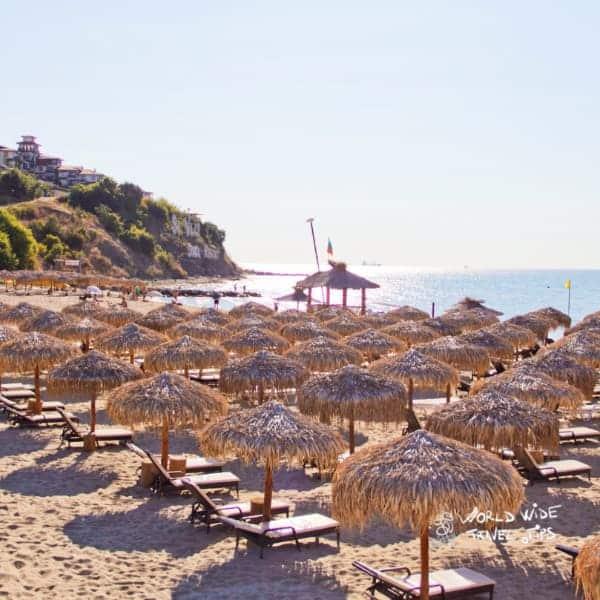 Sveti Vlas Bulgaria Straw umbrellas Beach